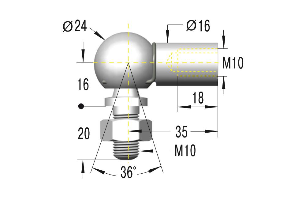 Winkelgelenk M10 **maximale Belastung 1800N**