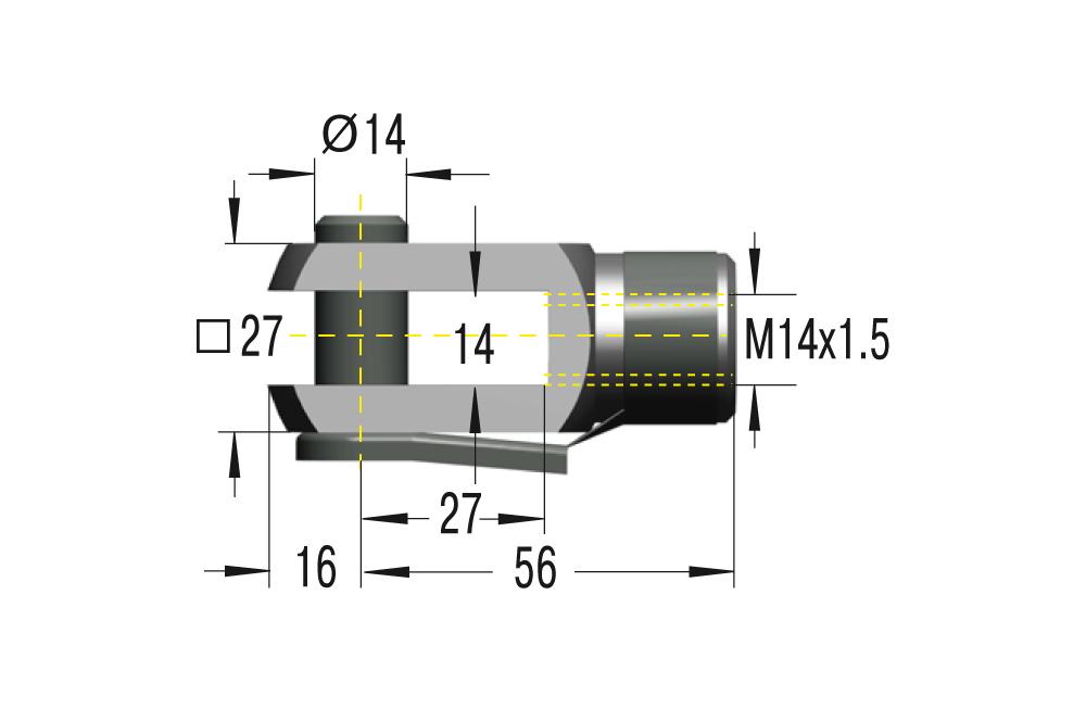 Gabelkopf M14x1,5 **maximale Belastung 10000N**