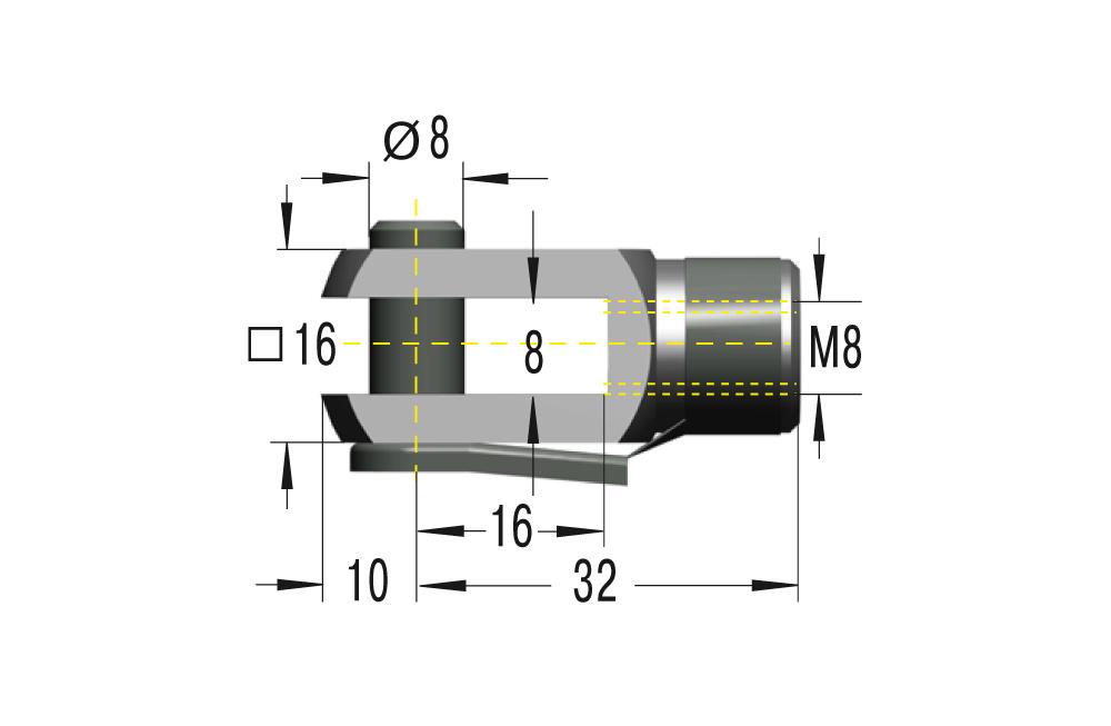 Gabelkopf M8 ***maximale Belastung 3000N***